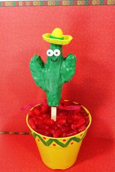Cinco de Mayo - Rice Krispie Treat Cactus with a fondant sombrero.  Who knew cacti could be cute?