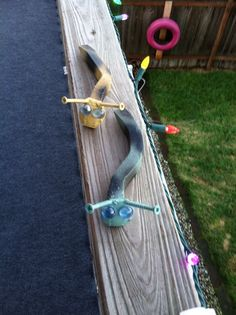 Railroad spike slugs yard art decoration