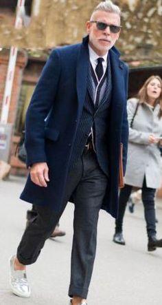 Пальто мужское синее зауженное в интернет-магазине Шопоголик