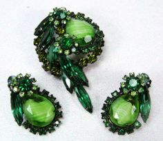 Book Piece D E Juliana Green Striped Chalk Rhinestone Brooch Pin Earring Set | eBay