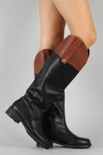Qupid Relax-92X Two Tone Round Toe Riding Knee High Boot  all boots about $40 and under