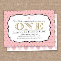 Girl First Sweetheart Birthday Invitation Valentines Day Pink And Black DIY Printable Valentine