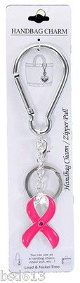 Pink Ribbon Handbag Charm Zipper Pull Key Ring Breast Cancer Awareness | eBay