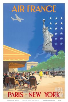 Paris New York - Air France - French Cafe And Statue of Liberty Print by Vincent Guerra at Art.com
