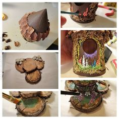 Make a Fairy House pt 2 --added a acorn at top of roof. Glued house to base & painted some grass. Used the end of a paintbrush in different colors to make flowers around the door and on base.