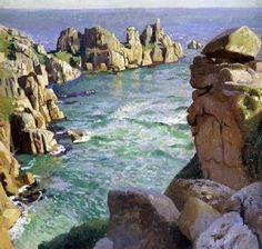 Harold Harvey: Rocas de Logan, Playa Porthcurno, Cornwell. Arte Campestre