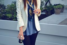 Love the color of the shirt and the blazer over it. Super cute.