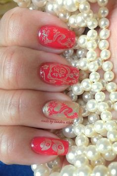 Chinese New Year Manicure. Couture Red Carpet (love this jelly, 2 layers). Stamp plate is BM -H15