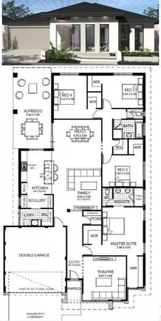 fixer upper house design, dream house p 4 Bedroom House Plans, House Layout Plans, Bungalow House Plans, Bungalow House Design, Family House Plans, Dream House Plans, Modern House Plans, Small House Plans, House Layouts