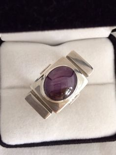 Men's Couture 14 ct Natural Star Ruby Cabochon Genuine Gemstone Bold & Beautiful Sterling Silver 925 Over One Ounce Heavy Modernist Ring