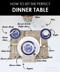 How To Set A Dinner Table - Set the perfect dinner table! We are showing you a simple and easy guide to set a table for your nex - Dinner Table, Dinner Plates, Table Party, Dinner Sets, Comment Dresser Une Table, Dining Etiquette, Etiquette Dinner, Etiquette And Manners, Couch Table