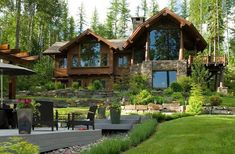Gallery - Edgewood Log HomesEdgewood Log Homes Rustic Houses Exterior, Modern Farmhouse Exterior, Dream House Exterior, House Window Design, Village House Design, Log Cabin Homes, Cabins And Cottages, Dream Home Design, House Goals