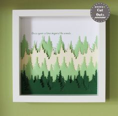 laser cut three dimensional wall art - forest by CutOutsProductDesign on Etsy Three Dimensional, Laser Cutting, Wall Art, Frame, Handmade Gifts, Etsy, Vintage, Picture Frame, Kid Craft Gifts
