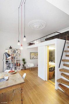 Small Studio Apartment Layout Design Ideas - home design Studio Apartment Layout, Studio Layout, Desk Layout, Tiny Apartments, Tiny Spaces, Studio Apartments, Tiny Loft, Loft Stairs, Mezzanine Loft