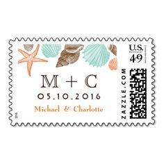 White Vintage Beach Coastal  Seashells Personalized STAMPS With Initials @ Bride & Groom Names For Wedding Postage  #wedding #beach