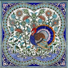 Photo by Paka Concept in Paka Concept. Turkish Art, Turkish Tiles, Tile Murals, Tile Art, Turkish Pattern, Peacock Decor, Decoupage Box, Embroidery Fabric, Cross Stitch Flowers