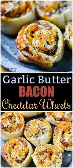 Garlic Butter Bacon Cheddar Wheels perfect appetizer or fun snack.