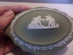 A Wedgwood Jasper oval shape trinket box. It has three cherubs on the top and It has figures all round the sides of the box and the lid sits well. Toast Rack, Breakfast Set, Flower Spray, Wedgwood, Oval Shape, Trinket Boxes, My Etsy Shop, Check, Desserts
