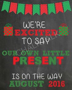 Christmas Pregnancy Announcement Chalkboard  by ChalkTalkDesigns