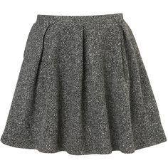 Tweed Invert Pleated Skirt (99 BRL) ❤ liked on Polyvore featuring skirts, bottoms, saias, faldas, black, inverted pleat skirt and tweed skirt