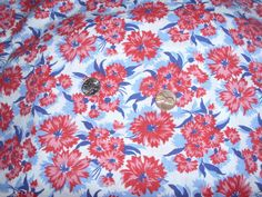 Antique Vintage Flour Feed Sack White Background Red Flowers Quilt Fabric