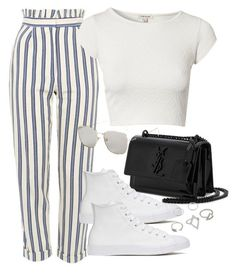 """""""Untitled #3138"""" by camilae97 ❤ liked on Polyvore featuring Topshop, River Island, Yves Saint Laurent and Converse"""