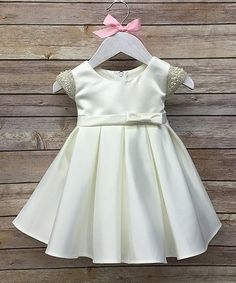 Look what I found on #zulily! Ivory Pearl Satin Dress - Infant #zulilyfinds