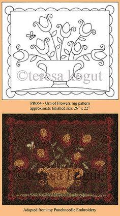 Hooked rugs - patterns by teresa kogut Rug Hooking Designs, Rug Hooking Patterns, Rug Patterns, Wool Applique, Applique Patterns, Cross Stitch Embroidery, Hand Embroidery, Punch Needle Patterns, Patch Aplique