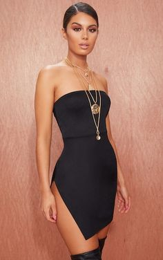 b471fa7eb8 Black Crepe Split Side Bandeau Bodycon Dress.