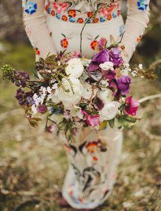 Whimsical white + purple bouquet