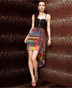 Material Girl Dress, Sleeveless Bustier Printed Asymmetrical  #r29summerstyle
