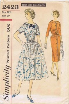 Vintage Sewing Patterns Simplicity 2423 Sewing Pattern Vintage Retro Rockabilly Style Swing Garden Tea Party Dress Flare or - Vintage Dress Patterns, Dress Sewing Patterns, Clothing Patterns, Vintage Dresses, Vintage Outfits, Pattern Sewing, 50s Dresses, Rockabilly Fashion, Retro Fashion
