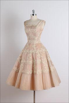 Vintage 1950s Ceil Chapman Nude Organza Lace Party Dress