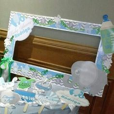 Marco De Fotos (photo Frame) Elephant Theme Baby Shower @kdc_tarjeteria  Designa By Stephanie
