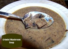 Beef broth enhances the meaty flavor of crimini mushrooms, and fresh thyme adds a woodsy flavor to this mushroom soup.