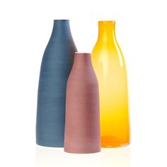 Decorative Bottles Warm Set Of 3, designed by Amélie Lucier and Julien Mongeau of the Canadian studio A+J Metissage (www.aj-metissage.com/en.htm), $99 (retail price $138.00)
