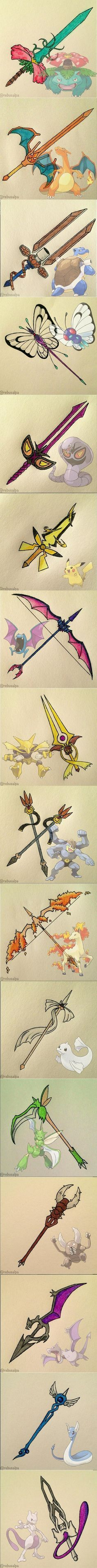 Pokémon Weapon Art. I have to say, I love Charizard's, Blastoise's, Rapidash's, and Dragonaire's weapons!