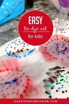 Simple, DIY art project for toddlers and preschoolers to work on patterns and be creative with tie dye! Three simple supplies you already have at home. #preschoolerartactivities Artists For Kids, Art For Kids, Crafts For Kids, Toddler Art Projects, Diy Art Projects, Outdoor Activities For Kids, Preschool Activities, How To Make Banners, Painting Activities