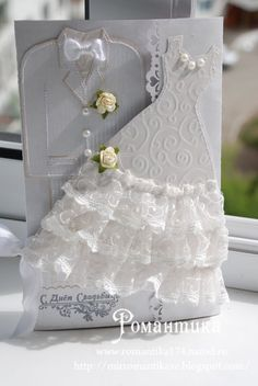 There are thousands of ready-made wedding invites to choose from; simply select a style, send out the information, and the printer can have it all set within weeks. With such a wide selection, it might be challenging to pick which one is finest. Wedding Scrapbook, Scrapbook Cards, Invitation Cards, Wedding Invitations, Tattered Lace Cards, Wedding Cards Handmade, Birthday Cards For Women, Dress Card, Wedding Anniversary Cards