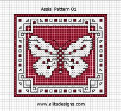 Cross-stitch Butterfly Biscornu... no color chart available, just use pattern chart as your color guide.. or choose your own colors...