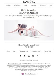 Birthday Email, Birthday Rewards, Happy Birthday, Ring Bracelet, Ring Earrings, Loyalty Rewards, Email Marketing Design, Are You Happy, Pandora
