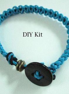 For Sale: Turquoise And Black Macrame Diy Bracelet Kit For.