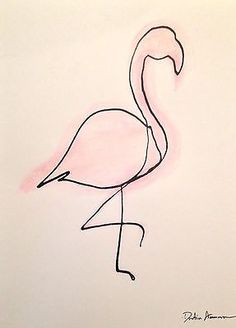 Flamingo Original Art - Ink and Watercolor on Bristol