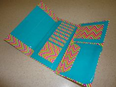 Duct Tape Womens Clutch Wallet (Pink, Orange and Green Stripes with Blue)