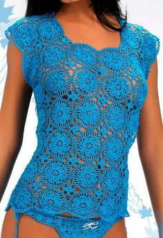 Crochet ladies top PATTERN, top PATTERN design, detailed instructions in American terms, lace crochet T-shirt pattern, crochet motifs top - Kleidung Cardigans Crochet, Blouse Au Crochet, Crochet T Shirts, Crochet Tank, Crochet Clothes, Diy Crochet, Crochet Design, Ladies Tops Patterns, Lady