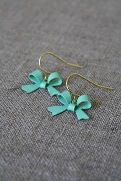 Teal bow earrings