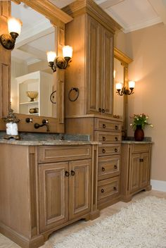 We could use Mamaw's old chest-of-drawers (or any chest-of-drawers) between double sinks in the master bath