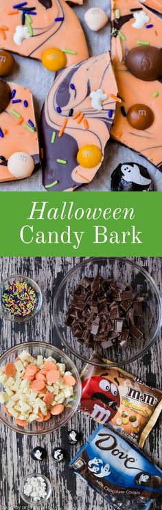 Halloween Candy Bark is the ultimate treat with semisweet and white chocolate, butterscotch M&M's, and Dove Chocolate. via @introvertbaker