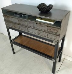 Vintage Card Catalog/Parts Bin Drawer Console/Media Table by BranchesFurniture on Etsy https://www.etsy.com/listing/482019525/vintage-card-catalogparts-bin-drawer