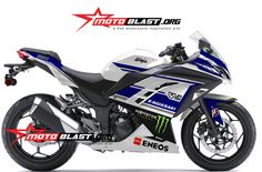 Modif Striping Kawasaki Ninja 250R FI White - Motogp Blue!